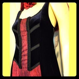 VTG 90s HOT TOPIC GOTHIC Black Velvet Maxi Dress